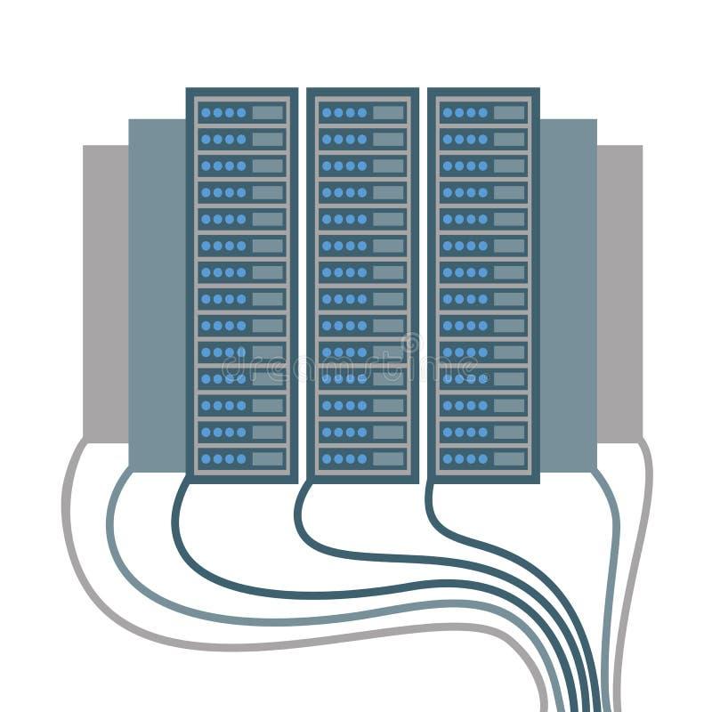 Los iconos del centro de datos de cables y de bloques vector el ejemplo libre illustration