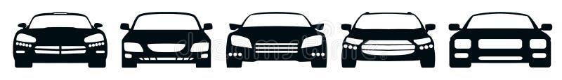 """Los iconos del coche fijaron la silueta, †auto cinco """" ilustración del vector"""