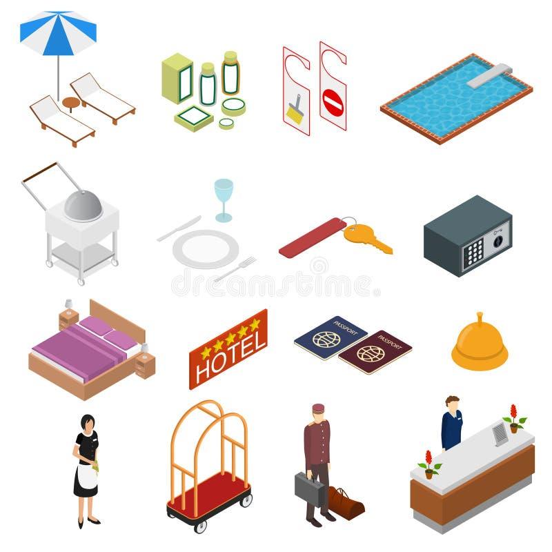 Los iconos del color del servicio de hotel fijaron la visión isométrica Vector ilustración del vector
