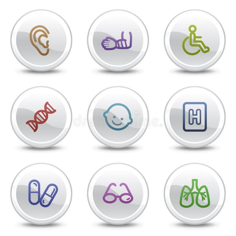 Los iconos del color del Web de la medicina fijaron 2, botones del círculo imagen de archivo libre de regalías
