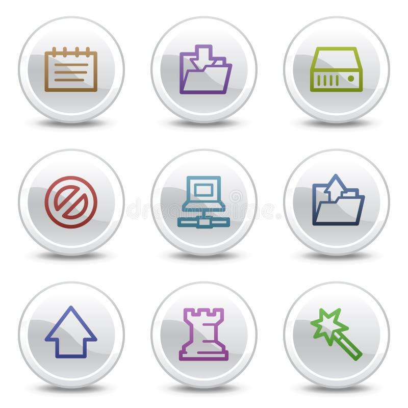 Los iconos del color del Web de los datos, el círculo blanco abotonan ilustración del vector