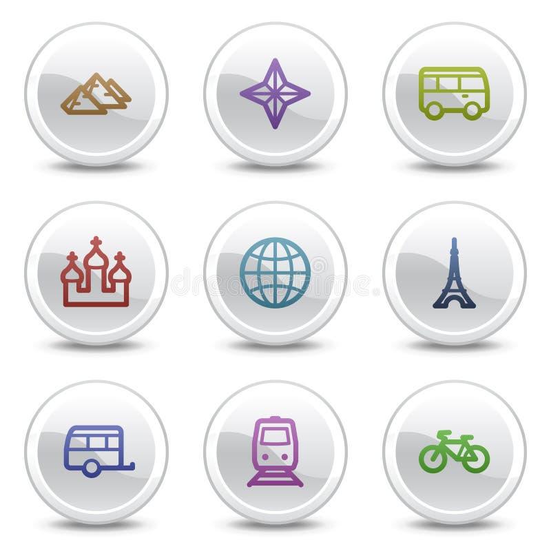Los iconos del color del Web del recorrido fijaron 2, botones del círculo fotos de archivo