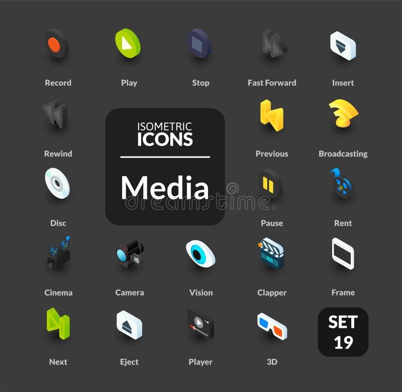 Los iconos del color fijaron en el estilo isométrico plano del ejemplo, colección del vector stock de ilustración
