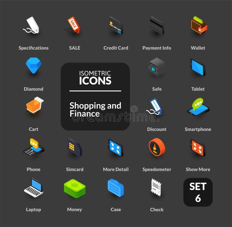 Los iconos del color fijaron en el estilo isométrico plano del ejemplo, colección del vector libre illustration
