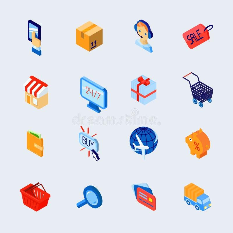 Los iconos del comercio electrónico de las compras fijaron isométrico libre illustration
