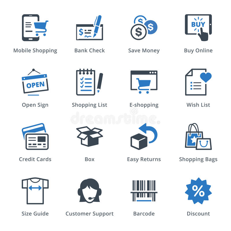 Los iconos del comercio electrónico fijaron 3 - serie azul ilustración del vector
