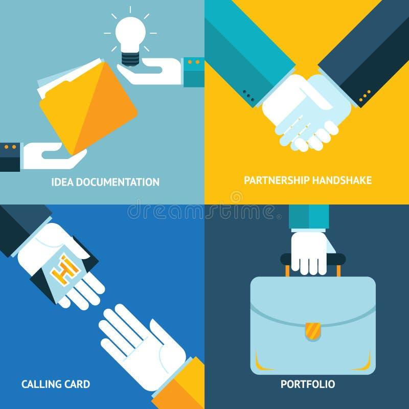 Los iconos del concepto del negocio del apretón de manos de la sociedad de la cartera de la tarjeta de visita de la documentación stock de ilustración