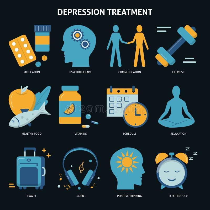 Los iconos del concepto del tratamiento de la depresión fijaron en estilo plano ilustración del vector