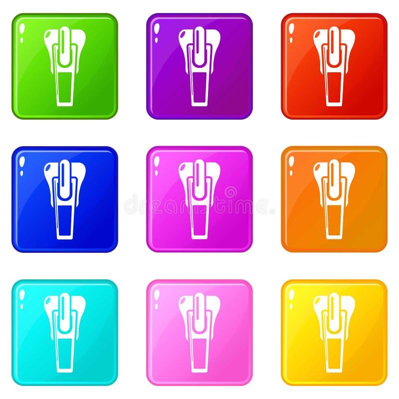 Los iconos del corchete fijaron la colección de 9 colores ilustración del vector