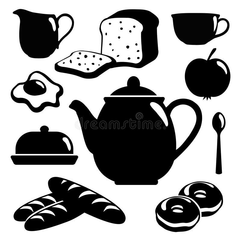 Los iconos del desayuno fijaron, las siluetas aisladas negras o stock de ilustración