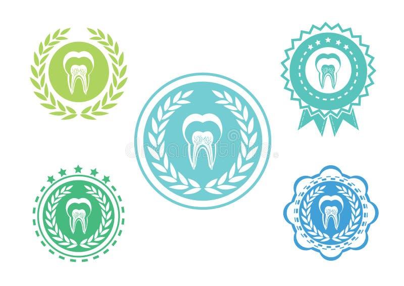 Los iconos del diente fijaron, sistema del logotipo del diente, sistema de etiqueta del diente libre illustration