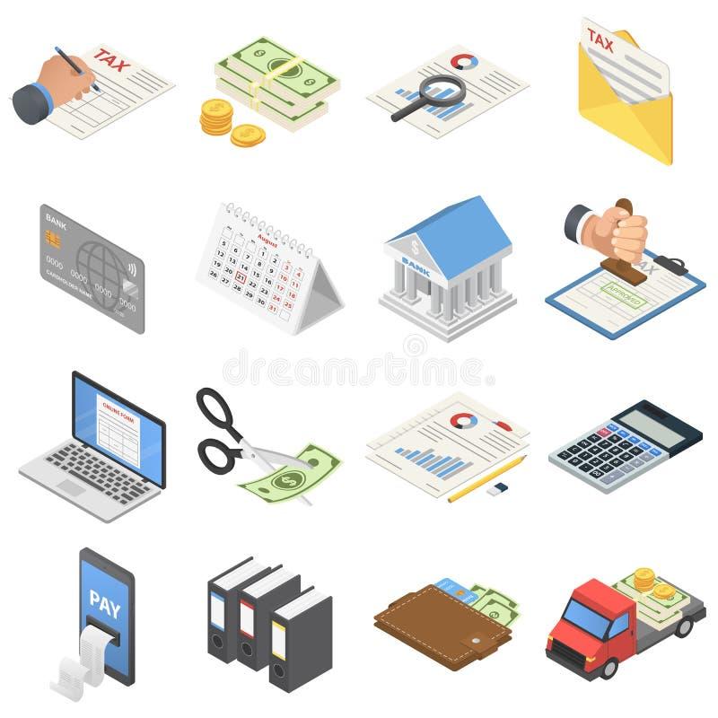 Los iconos del dinero de la contabilidad de impuestos fijaron, estilo isométrico stock de ilustración