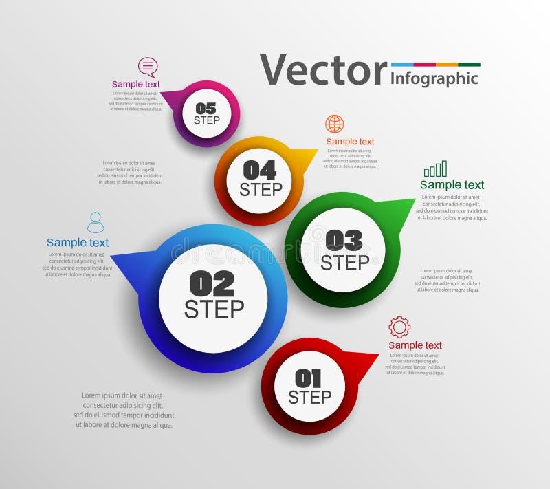 Los iconos del diseño y del márketing del infographics del vector se pueden utilizar para la disposición del flujo de trabajo, di ilustración del vector