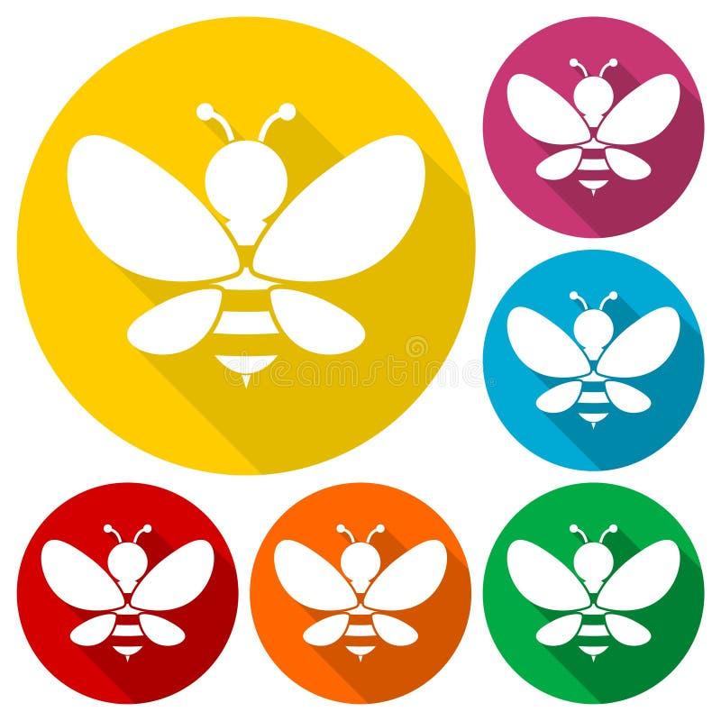 Los iconos del ejemplo de la silueta de la abeja fijaron con la sombra larga stock de ilustración