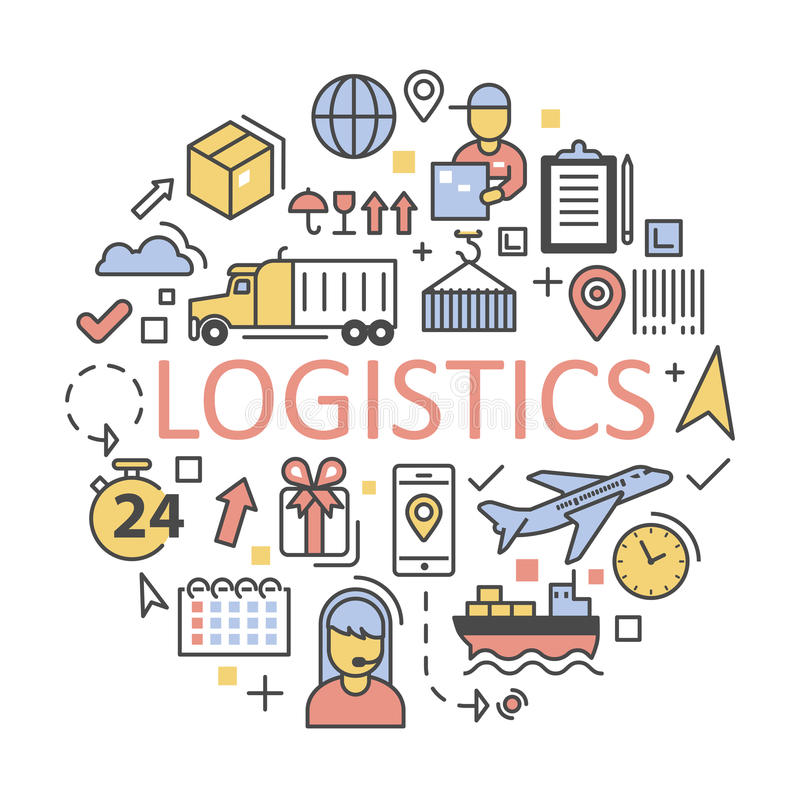 Los iconos del envío y de la logística fijaron servicio de entrega libre illustration