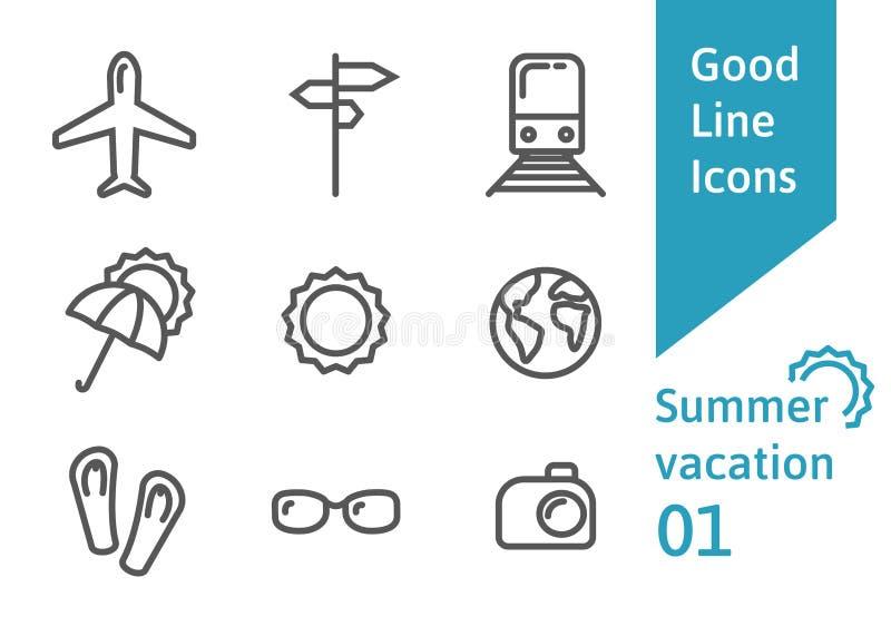 Los iconos del esquema de las vacaciones de verano fijaron 01 libre illustration