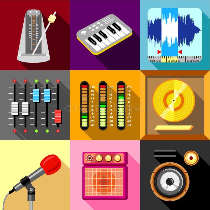 Los iconos del estudio de grabación de los sonidos fijaron, estilo plano ilustración del vector