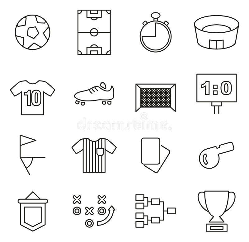 Los iconos del fútbol o del fútbol enrarecen la línea sistema del ejemplo del vector libre illustration