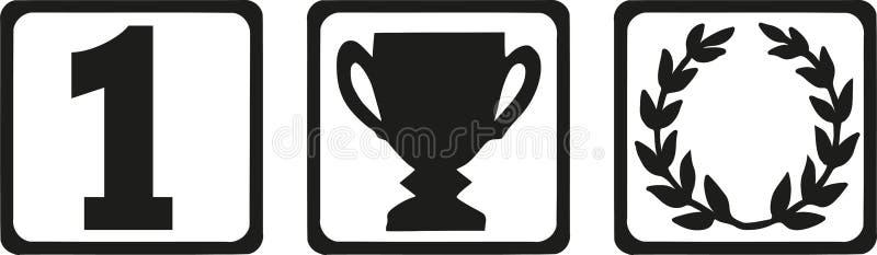 Los iconos del ganador - numere la guirnalda uno, del trofeo y del laurel ilustración del vector