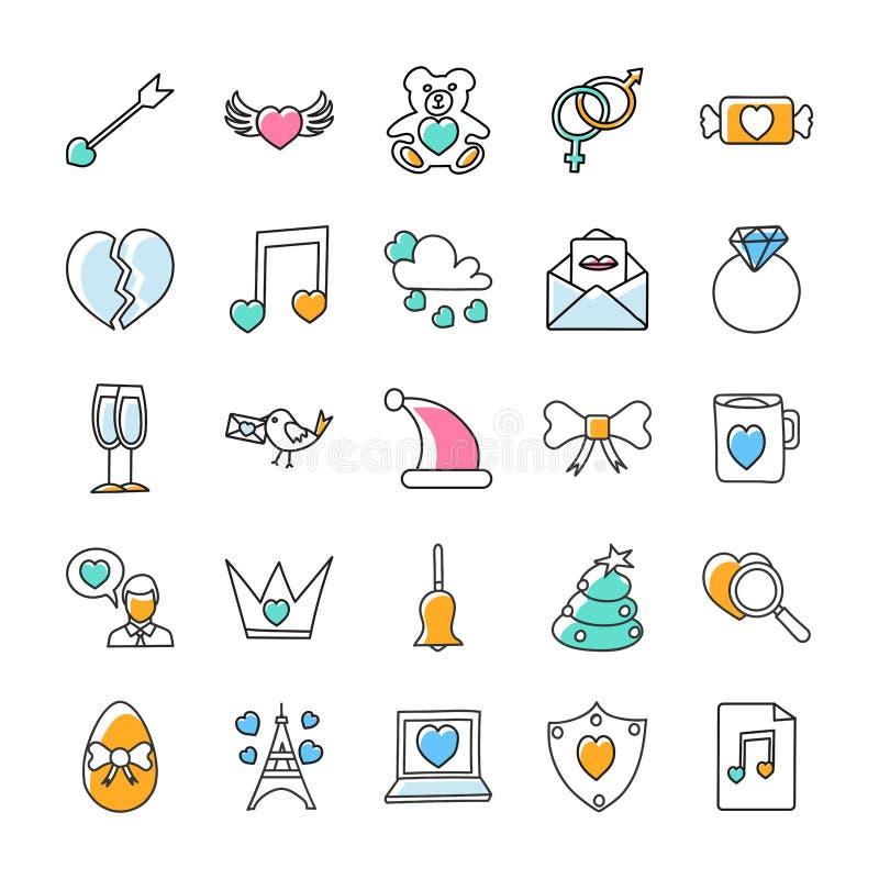 Los iconos del garabato de día de San Valentín embalan stock de ilustración