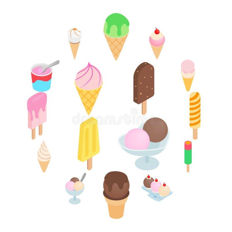 Los iconos del helado fijaron, el estilo isométrico 3d foto de archivo libre de regalías