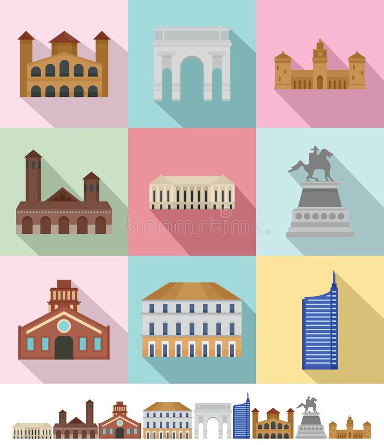 Los iconos del horizonte de la ciudad de Milan Italy fijaron, estilo plano libre illustration