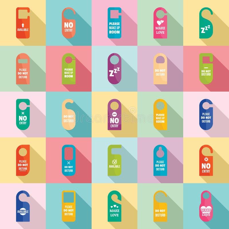 Los iconos del hotel de la tarjeta de la puerta de las etiquetas de la suspensión fijaron, estilo plano libre illustration