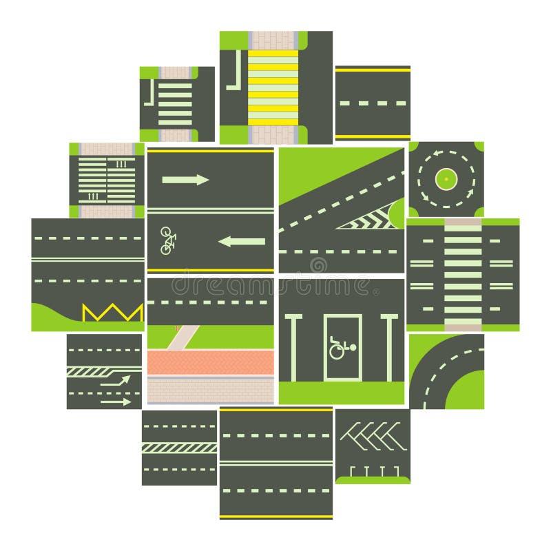 Los iconos del módulo del constructor del camino fijaron, estilo de la historieta ilustración del vector