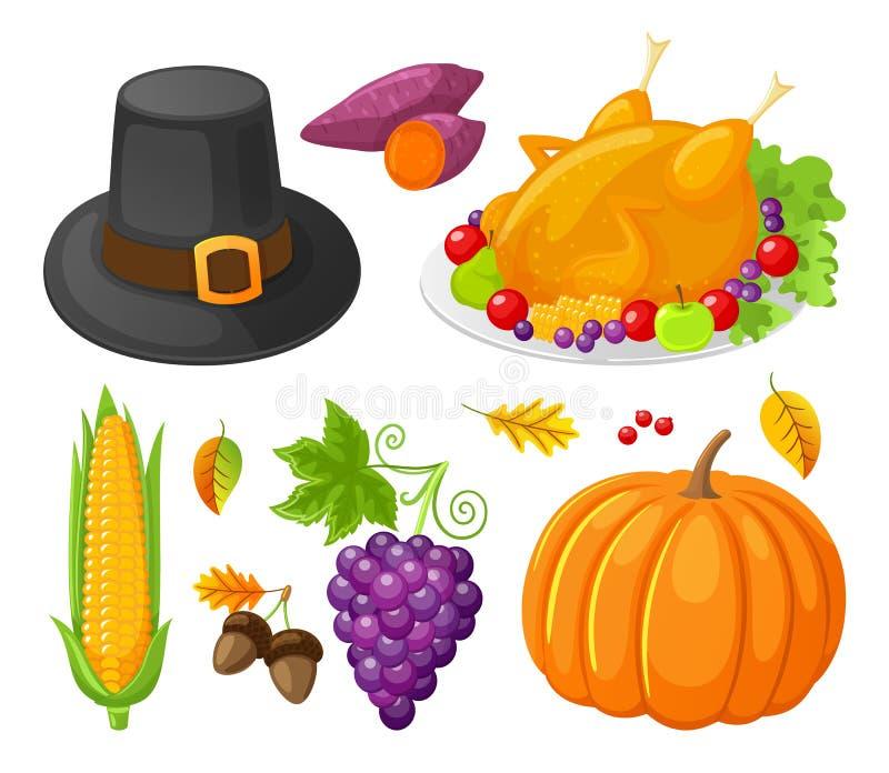 Los iconos del maíz del día de la acción de gracias de la calabaza fijaron vector ilustración del vector