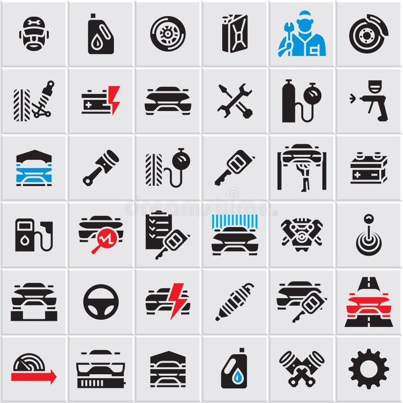 Los iconos del mantenimiento del servicio del coche fijaron, los iconos del vector del coche, piezas de automóvil, reparación del ilustración del vector