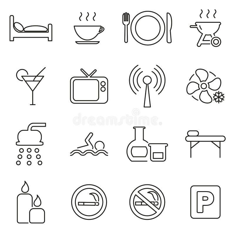 Los iconos del motel o del hotel enrarecen la línea sistema del ejemplo del vector stock de ilustración