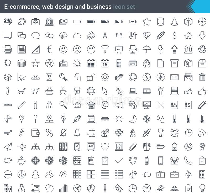 Los iconos del negocio, del comercio electrónico, del web y de las compras fijaron en estilo moderno aislado en el fondo blanco I stock de ilustración
