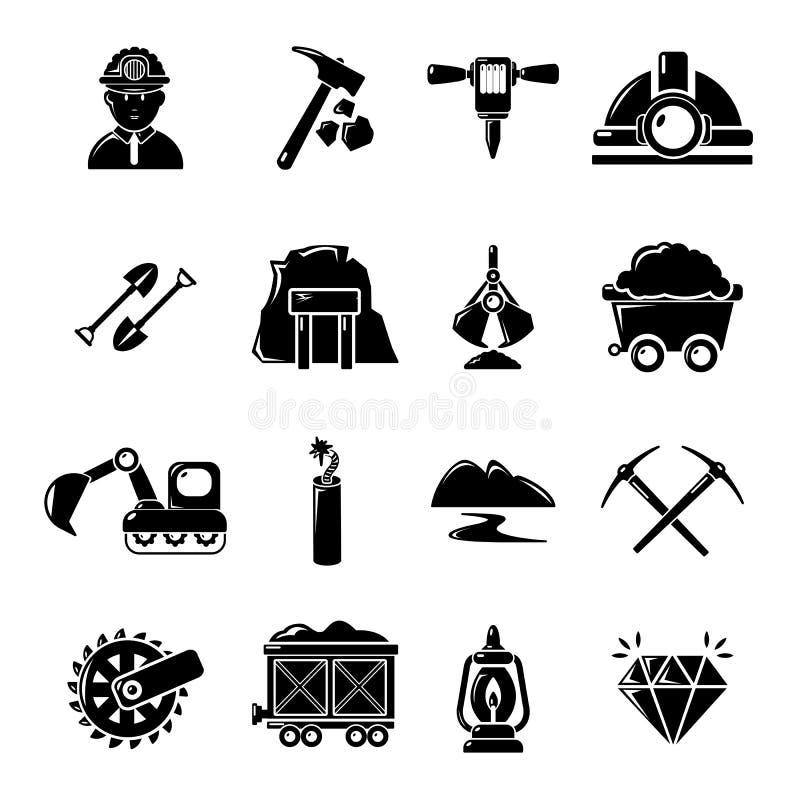 Los iconos del negocio de los minerales de la explotación minera fijaron, estilo simple ilustración del vector