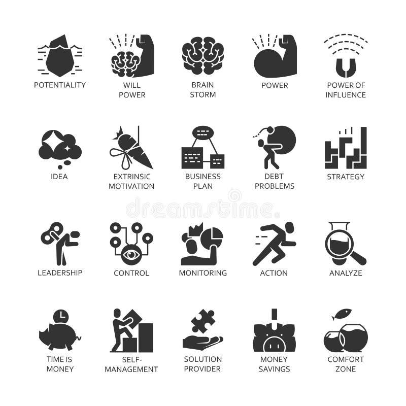 Los iconos del negro del símbolo de la silueta fijaron el desarrollo económico del negocio, crecimiento financiero stock de ilustración