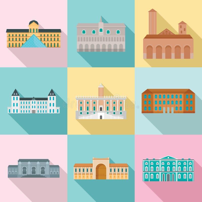 Los iconos del palacio de Italia del día del museo fijaron, estilo plano libre illustration