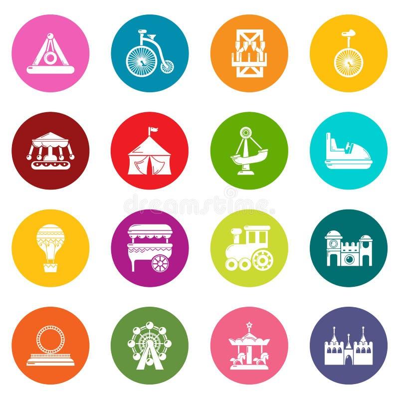 Los iconos del parque de atracciones fijaron vector colorido de los círculos libre illustration