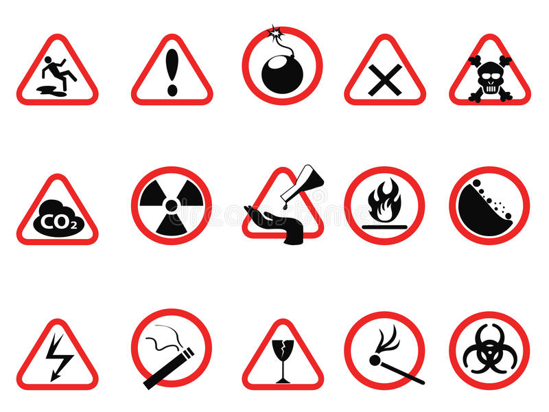 Los iconos del peligro las muestras amonestadoras fijan, triangulares y del círculo de peligro libre illustration