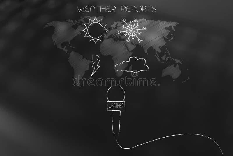Los iconos del perno y de la nube de la nieve de Sun sobre mapa del mundo cubrieron con las noticias m libre illustration