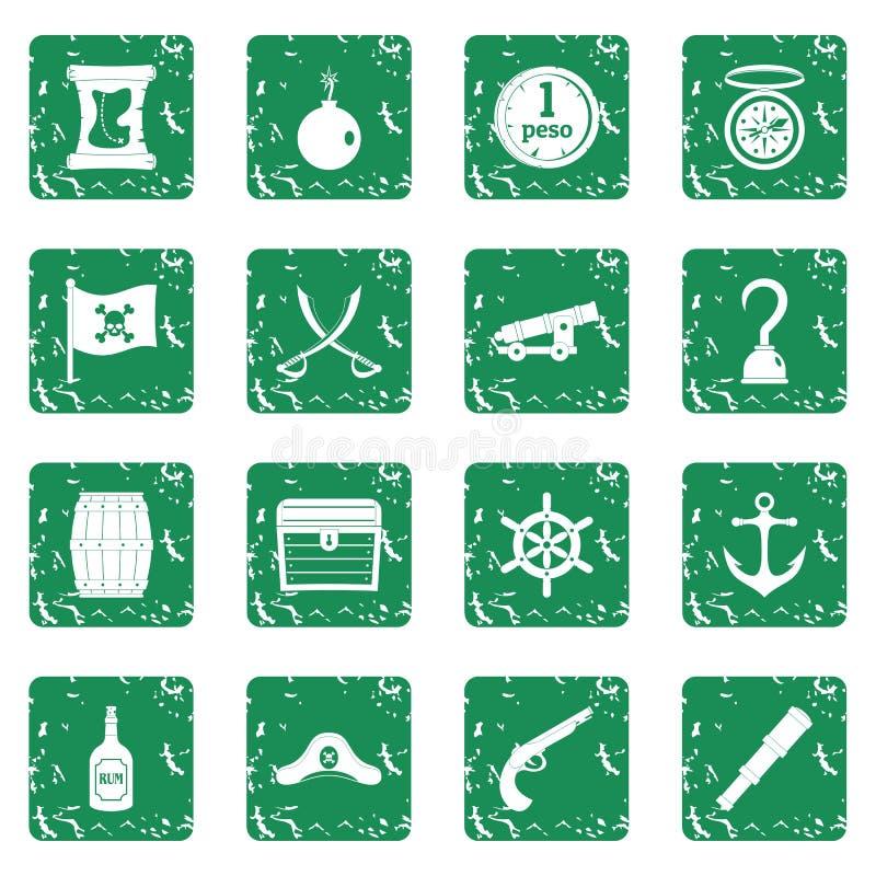 Los iconos del pirata fijaron grunge libre illustration