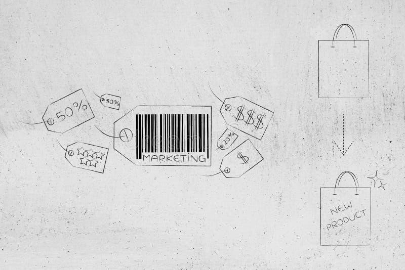 Los iconos del precio del márketing y entorpecen al empaquetado único para su libre illustration