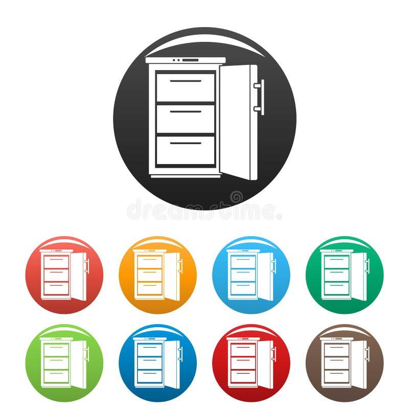 Los iconos del refrigerador fijaron color stock de ilustración