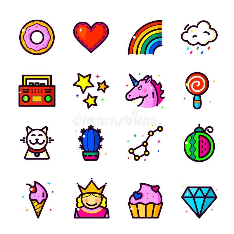 Los iconos del remiendo de la moda de la muchacha fijan, vector el ejemplo stock de ilustración