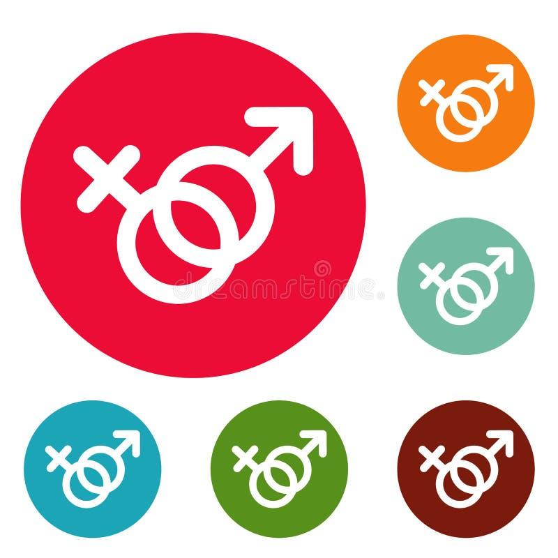 Los iconos del símbolo del género de la hembra y del hombre circundan el sistema ilustración del vector