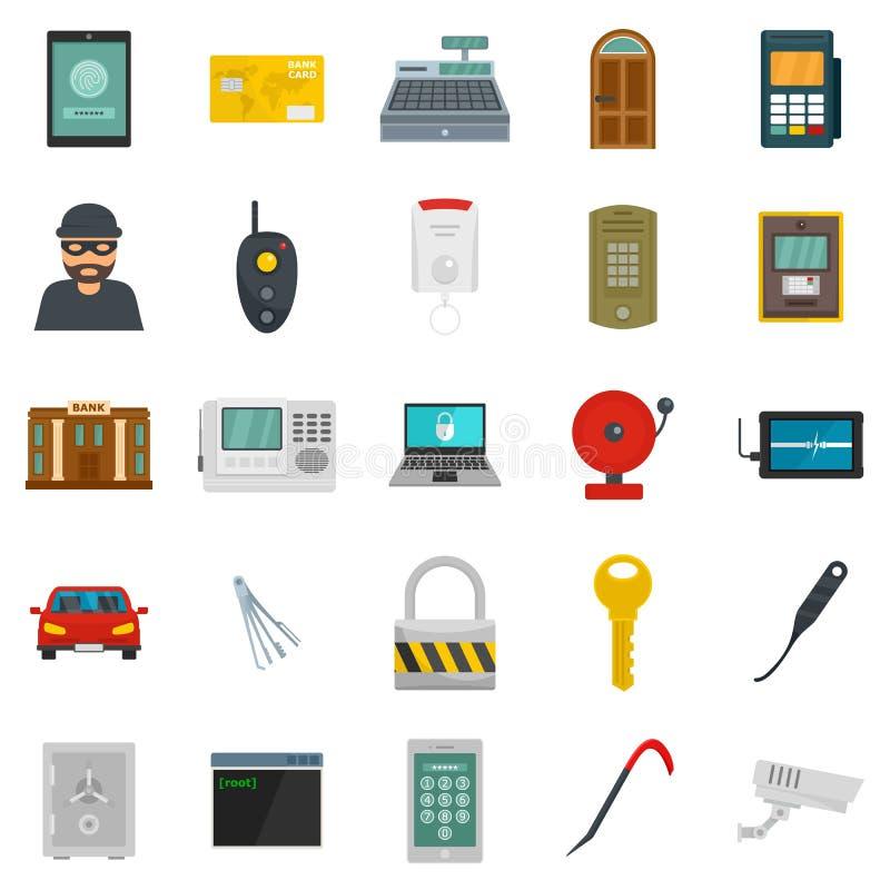 Los iconos del saqueador del ladrón del ladrón fijaron, estilo plano ilustración del vector