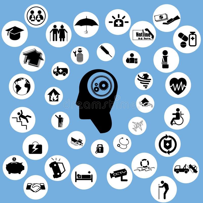 Los iconos del seguro y piensan stock de ilustración