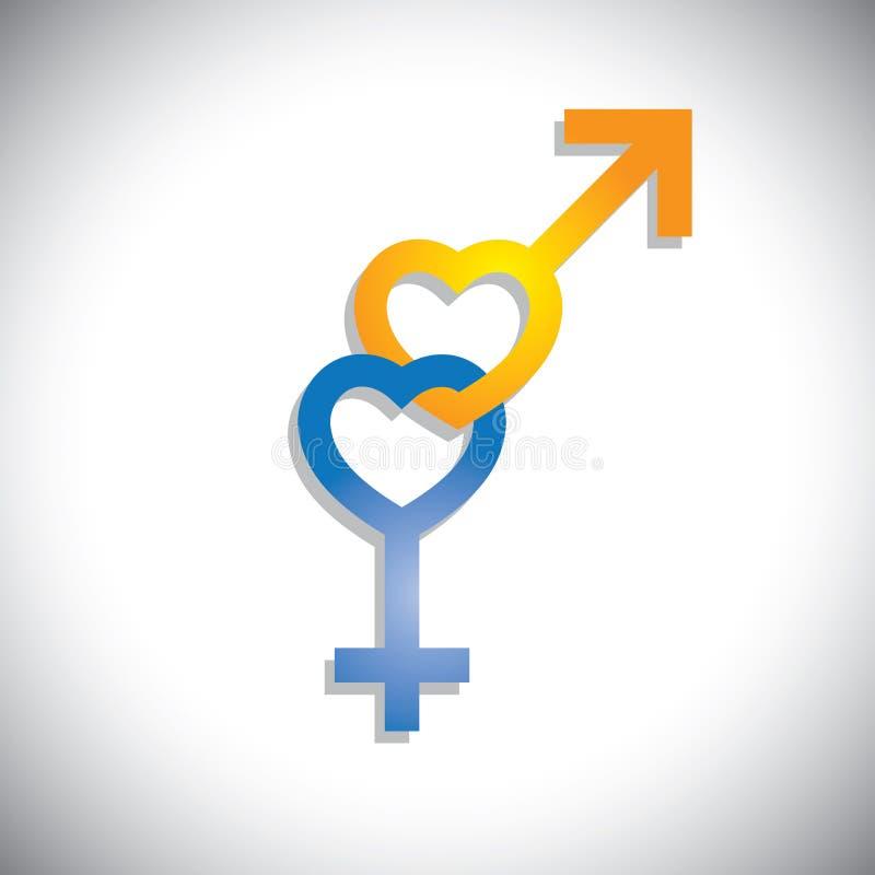 Los iconos del sexo masculino y femenino (género) en corazón forman el gráfico de vector ilustración del vector