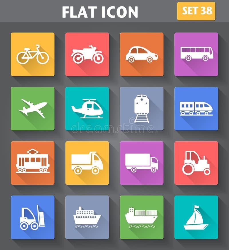 Los iconos del transporte del uso del vector fijaron en estilo plano ilustración del vector