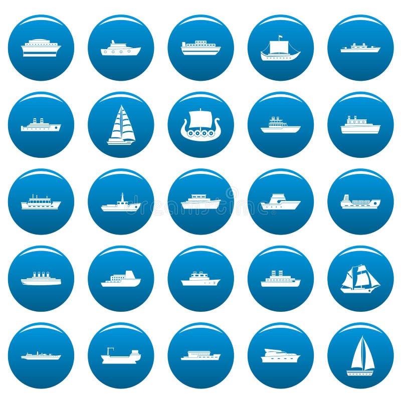 Los iconos del vector del barco fijaron estilo azul, simple libre illustration