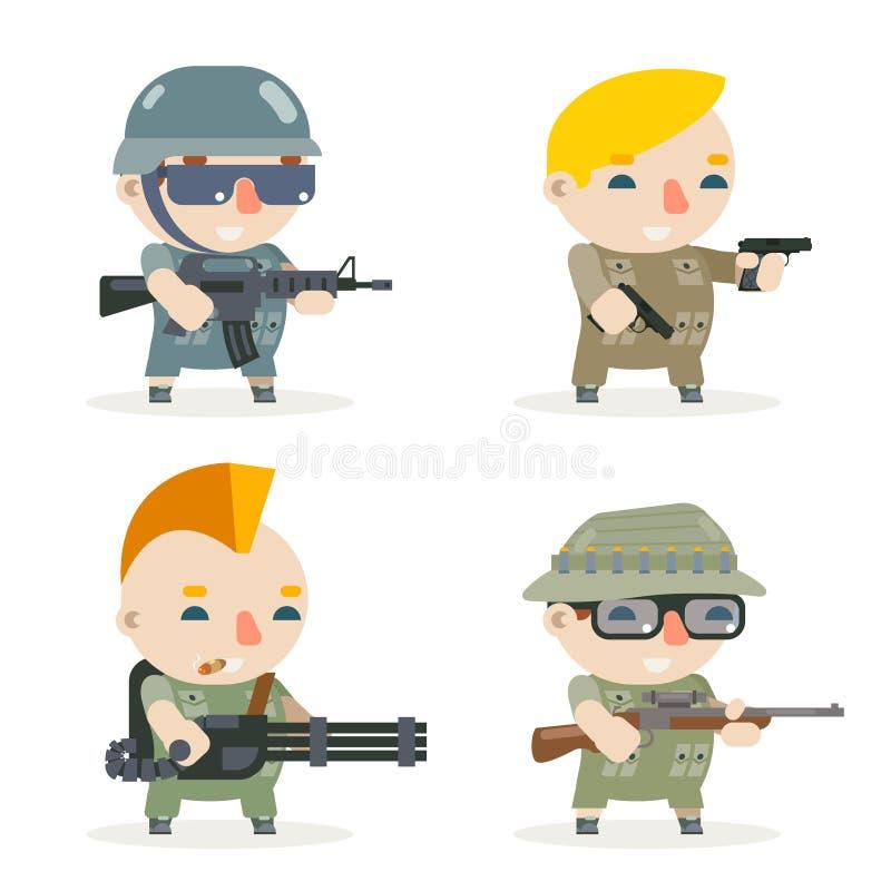 Los iconos del vector del carácter del francotirador del fusilero del pistolero de los héroes del soldado del juego del RPG de la stock de ilustración