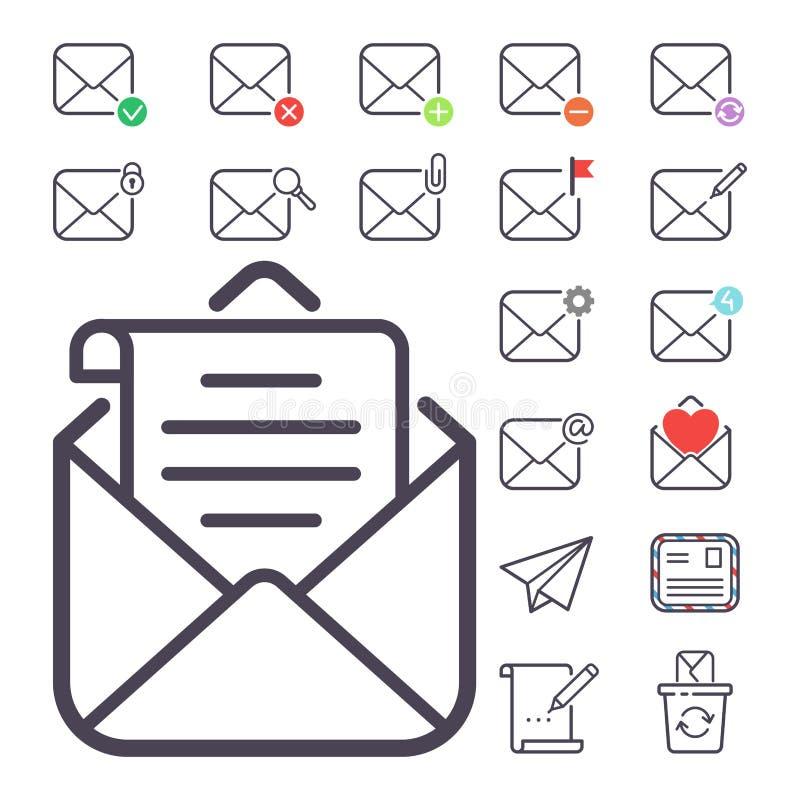 Los iconos del vector de la letra del correo electrónico fijaron el papel del diseño del buzón del esquema de la dirección en bla stock de ilustración